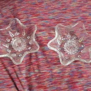 2 glass candleholders